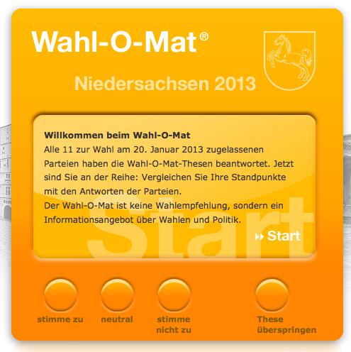 [WAHL-O-MAT] Wolle wähle gehe?! Die neue kostenfreie Software zur Niedersachsen-Landtagswahl am 20. Januar 2013
