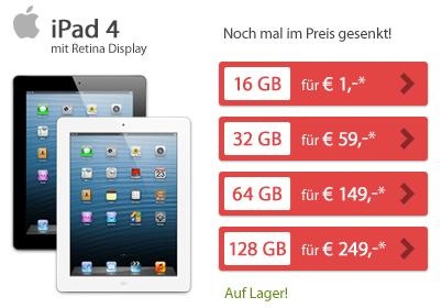 sparhandy noch g nstiger apple ipad 4 wifi 4g 16gb. Black Bedroom Furniture Sets. Home Design Ideas