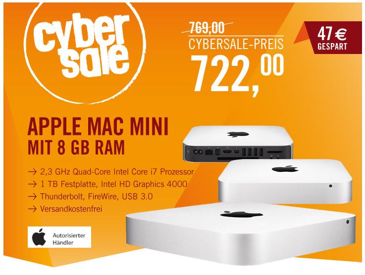 [CYBERPORT CYBERSALE] Apple Mac mini 2,3 GHz mit Intel Core i7, 1 TB Festplatte und 8 GB Ram für nur 722,- Euro!