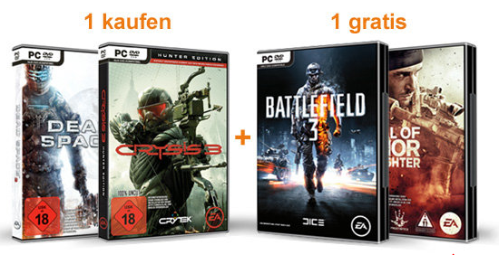 [AMAZON] Medal of Honor: Warfighter oder Battlefield 3 gratis beim Kauf von Crysis 3 oder Dead Space 3