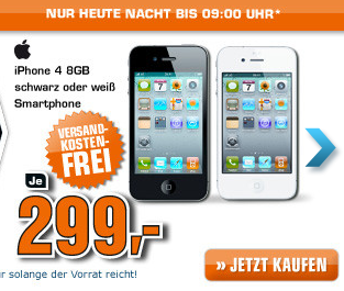 saturn late night shopping iphone 4 8gb f r nur 299 euro inkl versand. Black Bedroom Furniture Sets. Home Design Ideas