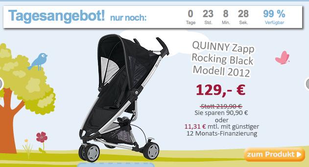 [BABY-MARKT.DE] Super Buggy! Quinny Zapp Rocking Black für nur 119,- Euro inkl. Versandkosten!