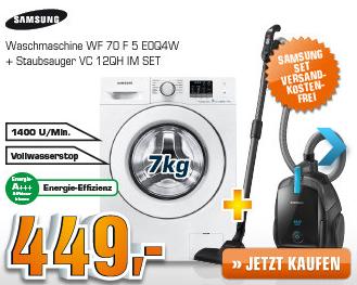 [SATURN SUPER SUNDAY] Doppelpack für den Haushalt: Samsung Waschmaschine WF70F5E0Q4W/EG plus Staubsauger VC12QHNDCBB für nur 449,- Euro inkl. Versand!
