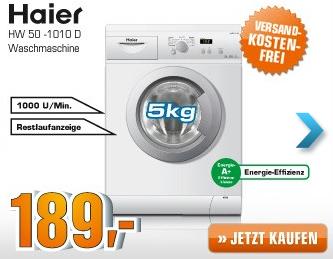 [SATURN SUPER SUNDAY] Haier HW 50-1010 D Waschmaschine für nur 189,- Euro inkl. Versandkosten!