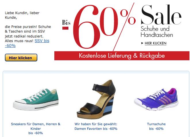 [AMAZON.DE] Großer Schuh-Sale mit Rabatten von bis zu 60%!