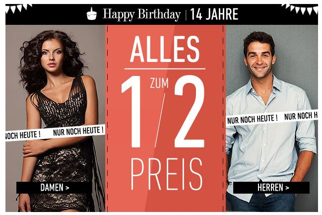 [DRESS-FOR-LESS] Nur noch heute: Alles zum halben Preis + 10,- Euro Newslettergutschein!