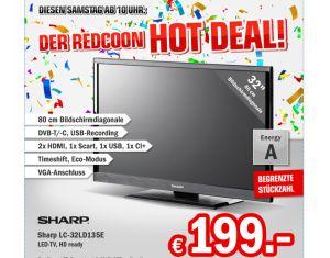 [REDCOON.DE] Knaller ab 10:00 Uhr! 32″ LED-TV Sharp LC-32LD135E für nur 206,99 Euro inkl. Versandkosten!