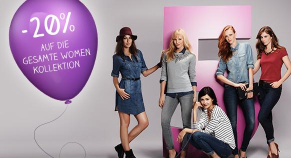 [C&A] Nur noch heute! 20% Rabatt auf das komplette Damen-Sortiment bei C&A – Newsletter bestellen und noch 10% Rabatt!