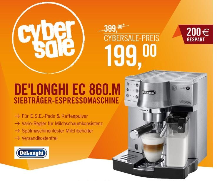 [CYBERPORT.DE] DeLonghi EC 860.M Espressomaschine für nur 199,90 Euro inkl. Versand!