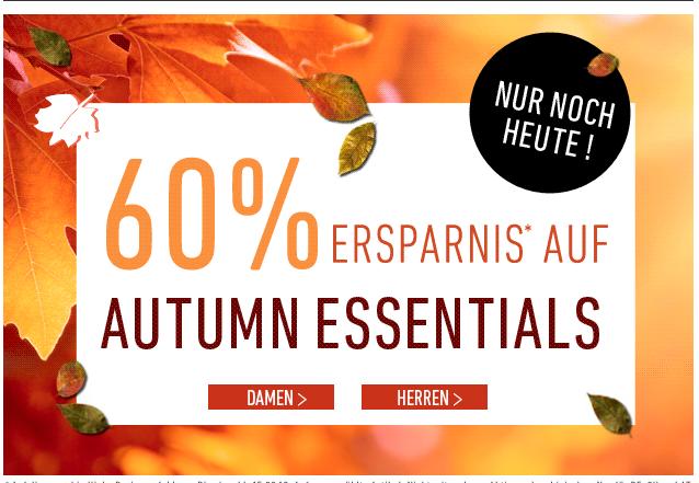 """[DRESS-FOR-LESS] Nur noch heute! 60% Rabatt auf """"Autumn Essentials"""" für Damen und Herren + 10,- Euro Newslettergutschein"""