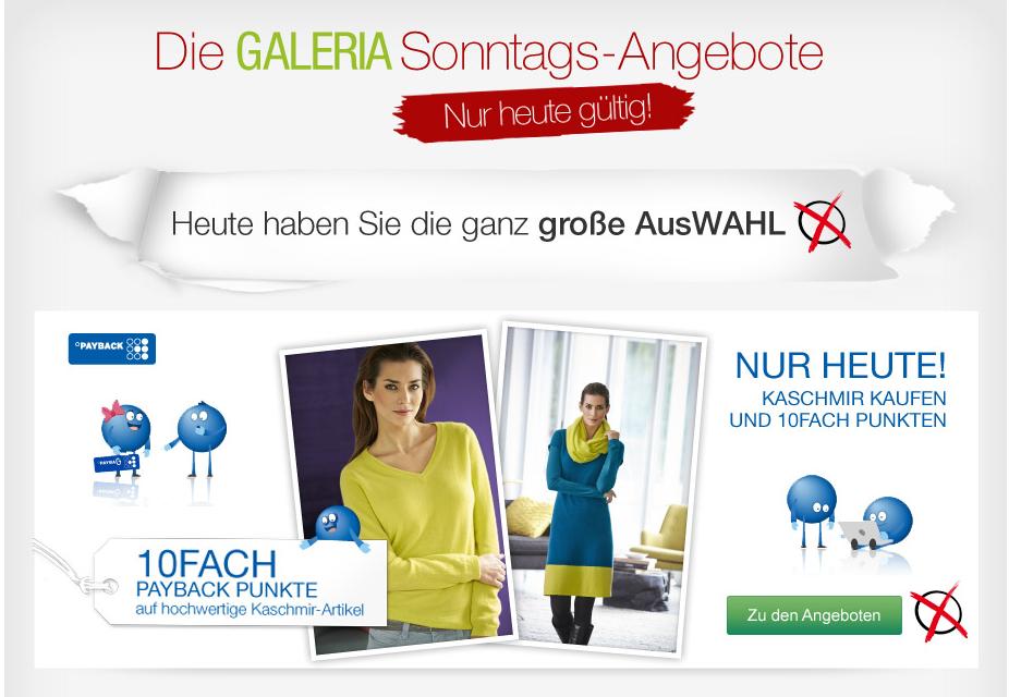 [GALERIA-KAUFHOF.DE] Verschiedene Rabattaktionen bei den Galeria Kaufhof Sonntagsangeboten – z.B.