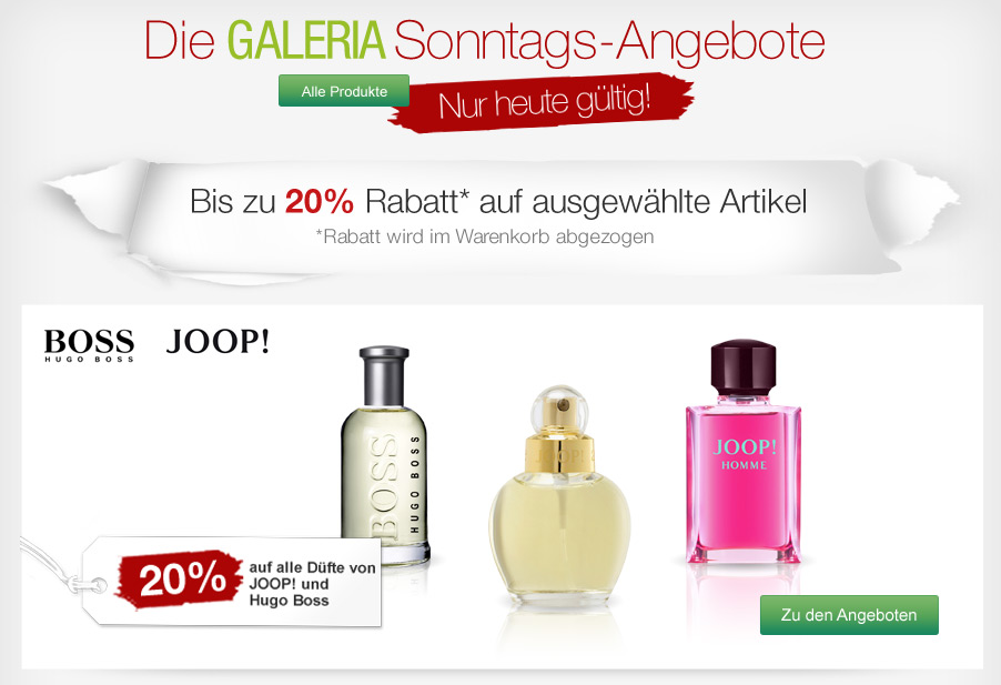 [GALERIA-KAUFHOF.DE] Verschiedene Rabattaktionen bei den Galeria Kaufhof Sonntagsangeboten – z.B. 20% Rabatt auf Düfte von Joop und Hugo Boss!