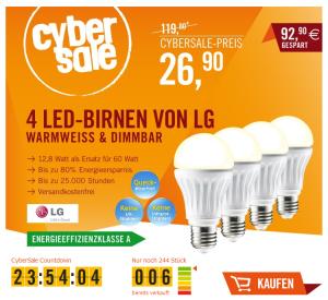 [CYBERPORT CYBERSALE] 4er Set LED-Leuchtmittel LG Classic A LED 12,8W E27 dimmbar (Warmweiß) für nur 26,90 Euro inkl. Versand!