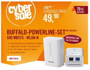 [CYBERPORT CYBERSALE] Knaller! Buffalo N300 WPL-05G300/2 500Mbit Powerline WLAN-n 300Mbit Netzwerkadapter Kit für nur 49,90 Euro inkl. Versand!