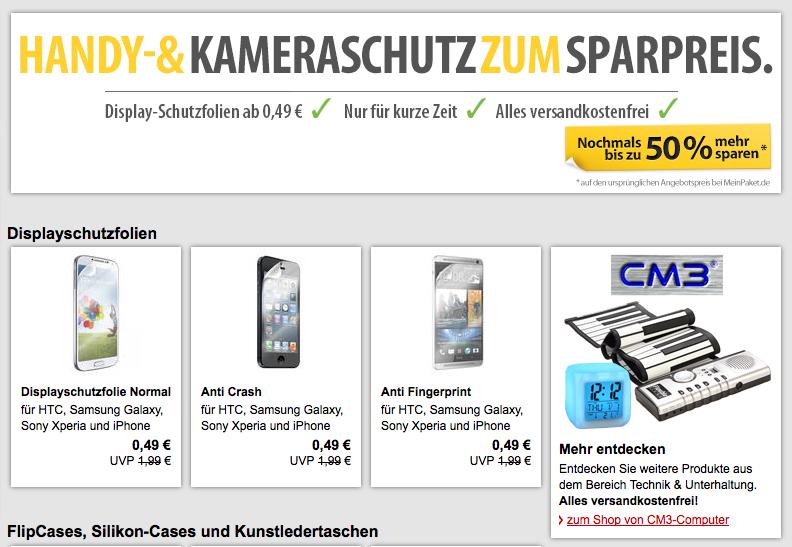 [MEINPAKET.DE] Handyschutzfolien für Samsung Galaxy S4, HTC One, iPhone 5s und viele andere für nur 49 Cent inkl. Versand!