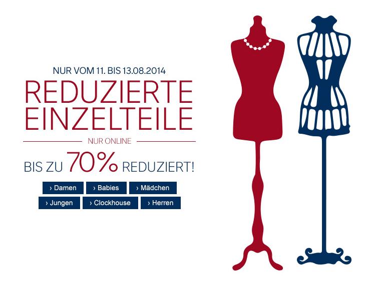 Bis Übermorgen! Satte 70% Rabatt auf reduzierte Einzelteile – dazu 10% Newsletter-Rabatt sichern!