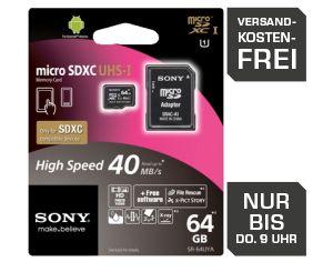 [SATURN LATE NIGHT SHOPPING] SONY SR64UYA microSDXC Karte 64GB Class 10 für nur 35,- Euro inkl. Versand!