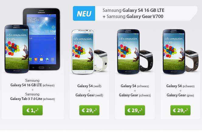 [SPARHANDY.DE] Knaller! Otelo Allnet Flat mit oder ohne SMS Flat und Samsung Galaxy S4 + Galaxy Tab 3 oder Galaxy Gear V700 zum Schnäppchenpreis!