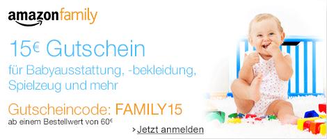 [AMAZON] Gratis! AmazonFamily Mitgliedschaft – dazu 15,- Euro Amazon Gutschein für Baby-Produkte (60,- Euro MBW)