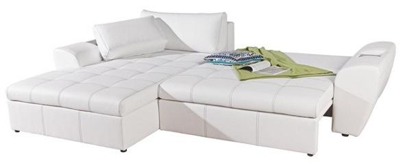 xxxlshop wohnlandschaft in l form inkl schlaffunktion mit bettkasten la costa in weiss nur. Black Bedroom Furniture Sets. Home Design Ideas