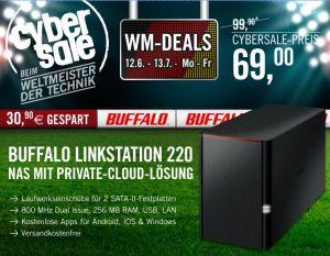 [CYBERPORT CYBERSALE] Buffalo LinkStation 220 (LS220DE-EU) NAS System Leergehäuse (2x SATA,Gigabit) für nur 69,- Euro inkl. Versand!
