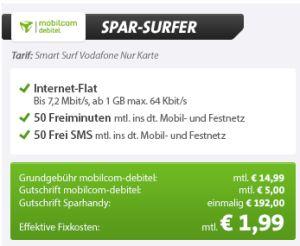 [SPARHANDY] 50 Freiminuten + 50 SMS und 1GB Datenflat für effektiv nur 1,99 Euro pro Monat dank Einmalauszahlung!