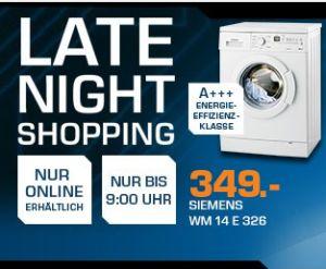 Saturn Late Night Shopping! Die Angebote am 27. August 2014 – z.B. Siemens WM14E326 Waschmaschine für 349,- Euro statt 397,- Euro!