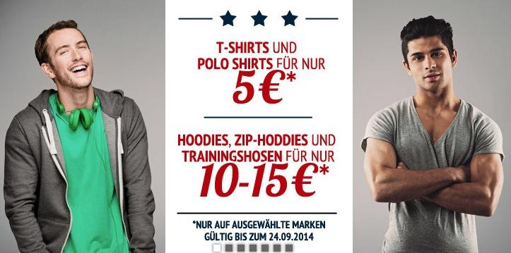 Sparangebot bei Hoodboyz: T-Shirts & Polos für 5,- Euro und Hoodies und Trainingshosen für 10,- bis 15,- Euro