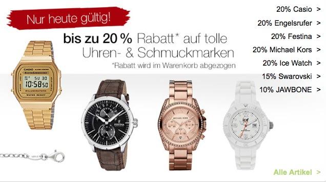 Galeria Kaufhof Sonntags Angebote! z.B. 20% Rabatt auf viele Uhren und auf Schmuck, 15% auf Taschen und Swarovski