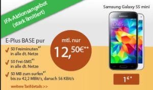Logitel: Samsung Galaxy S5 Mini dan E-Plus BASE pur Vertrag für nur 300,- Euro inkl. 50 Min, 50 SMS und 50 MB Daten pro Monat!