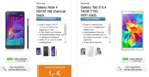 Top! Samsung Cashback Aktionen: Samsung Galaxy Note 4 + 8,4″ oder 10,5″ Samsung Galaxy Tab S inkl. Telekom Tarifen mit bis zu 200,- Euro Cashback