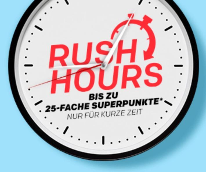 Nur bis 18 Uhr! Rakuten Rush Hour mit bis zu 25fach Superpunkten
