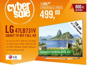 Cyberport CyberSale: LG 47LB731V 119 cm (47 Zoll) Cinema 3D LED-Backlight-Fernseher für nur 499,- Euro