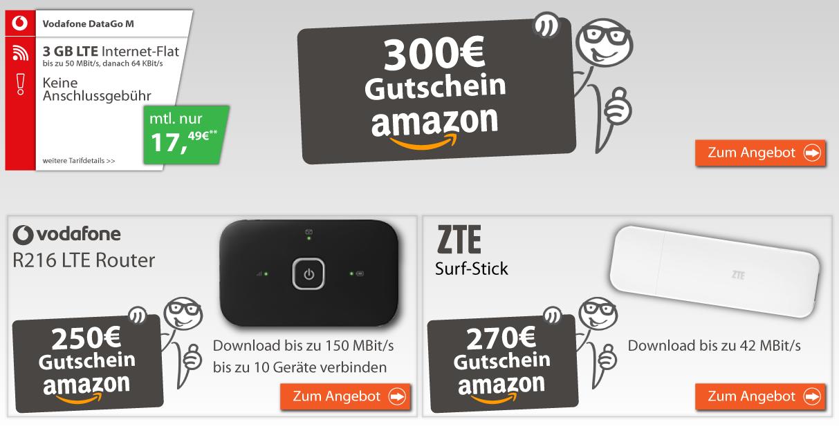 Vodafone DataGo M Aktionstarif mit 3GB LTE Datenflat für nur 17,49 Euro im Monat + Amazon Gutschein!