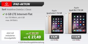 Sparhandy: Vodafone DataGo DataGo L mit iPad Air 2 16Gb für 27,49 Euro im Monat!