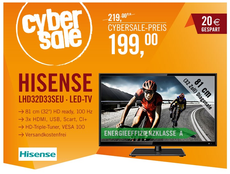 hisense lhd32d33 32 fernseher mit triple tuner nur 199 euro inkl versand. Black Bedroom Furniture Sets. Home Design Ideas