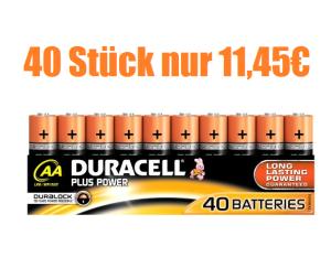 Update! 40 Stück Duracell Plus Power Batterie AA (MN1500/LR06) für nur 8,- Euro im MediaMarkt Ebaystore oder für 11,45 Euro inkl. Prime Versand!
