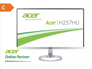 25″ LED Monitor Acer H257HUSMIDPX mit EEK: C und 2560×1440 Pixel für nur 359,- Euro inkl. Versand