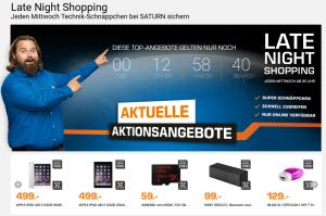 Top! Die Saturn Late Night Shopping Angebote am Mittwoch – z.B. Apple iPad Air 2 64GB WiFi in silber oder grau für je 494,- Euro
