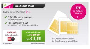 Sim-Only-Knaller!  Telekom Internet-Flat 3000 mit 3 GB LTE-Flat und 3 Monaten Bild+ für nur 5,55 Euro monatlich!