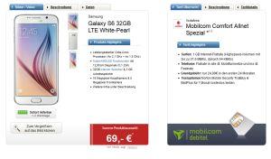 Samsung Galaxy S6 mit Vodafone Allnet Flat und 1GB Daten für nur 24,99 Euro/Monat