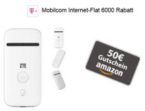 50,- Euro Amazon Gutschein + Hotspot gratis zur Mobilcom Internet-Flat 6000 mit 6 GB LTE Flat bis 50,0 MBit/s im Telekom Netz für 12,99 Euro