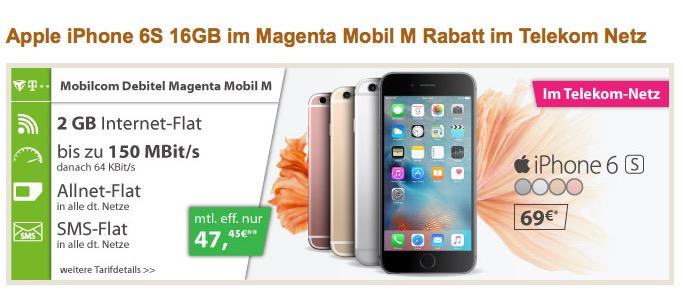 Mobilcom Magenta Mobil-M mit Allnet-Flat, SMS-Flat und 2GB Daten + iPhone 6s für 47,45 Euro monatlich!