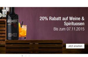 Letzter Tag! 20% Rabatt auf Weine und Spirituosen + 10% Newslettergutschein bei Galeria Kaufhof!