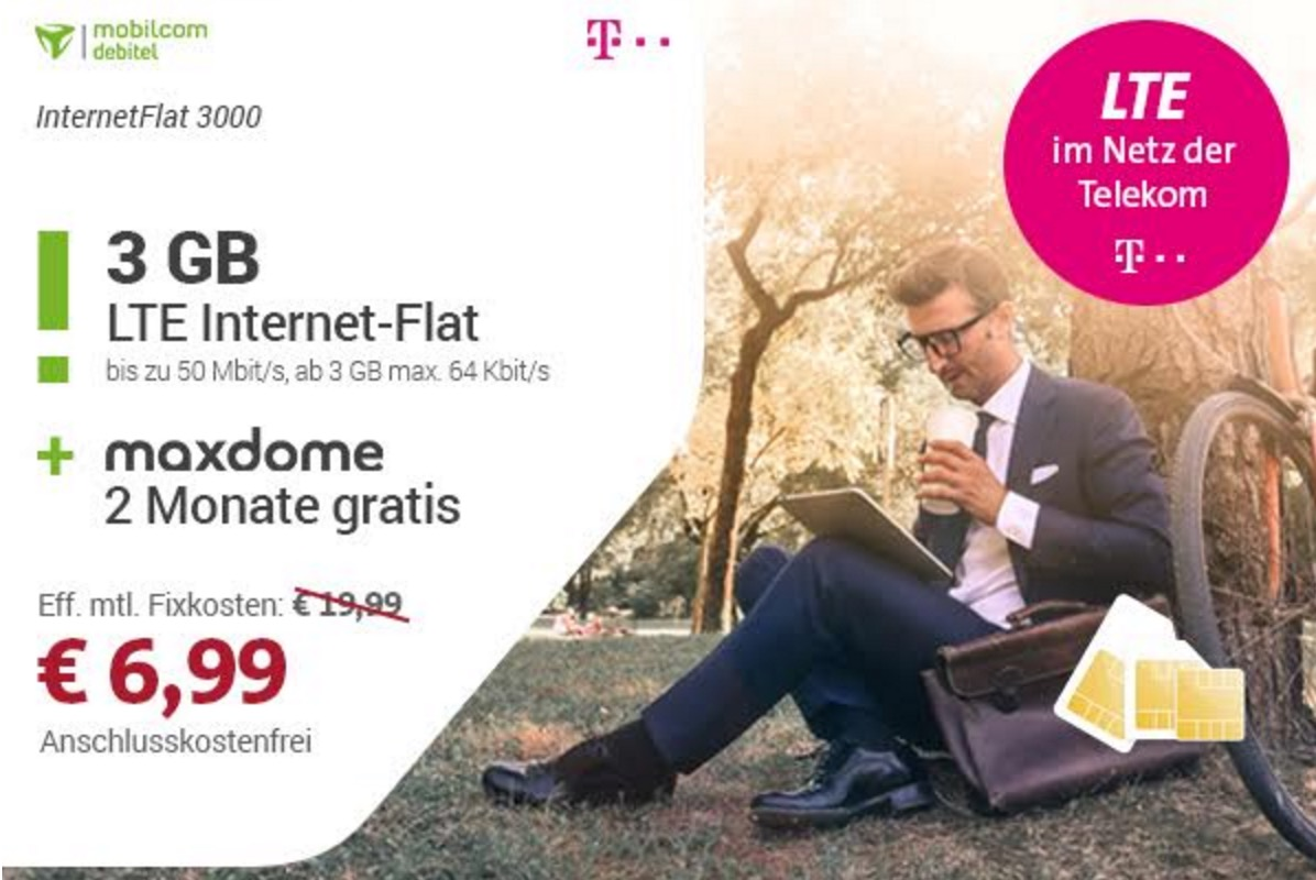 mobilcom debitel datentarife im netz der telekom mit 1gb 3gb oder 6gb schon ab 3 99 euro. Black Bedroom Furniture Sets. Home Design Ideas