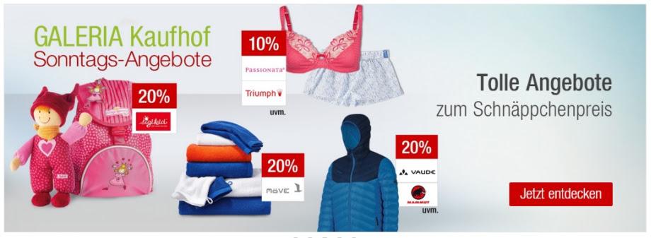 Die Galeria Kaufhof Sonntags-Angebote am 29. November – wie immer kombinierbar mit dem 10% Newsletter Gutschein!