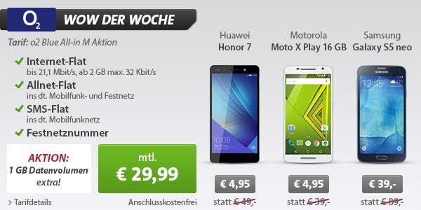 Aktuelle Smartphones mit o2 Blue All-in M mit 2GB LTE-Flat, Telefon- und SMS-Flat für 29,99 Euro monatlich!