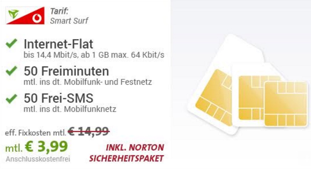 smart surf aktion vodafone sim only tarif mit 50 min 50 sms und 1gb datenflat f r 3 99 euro. Black Bedroom Furniture Sets. Home Design Ideas