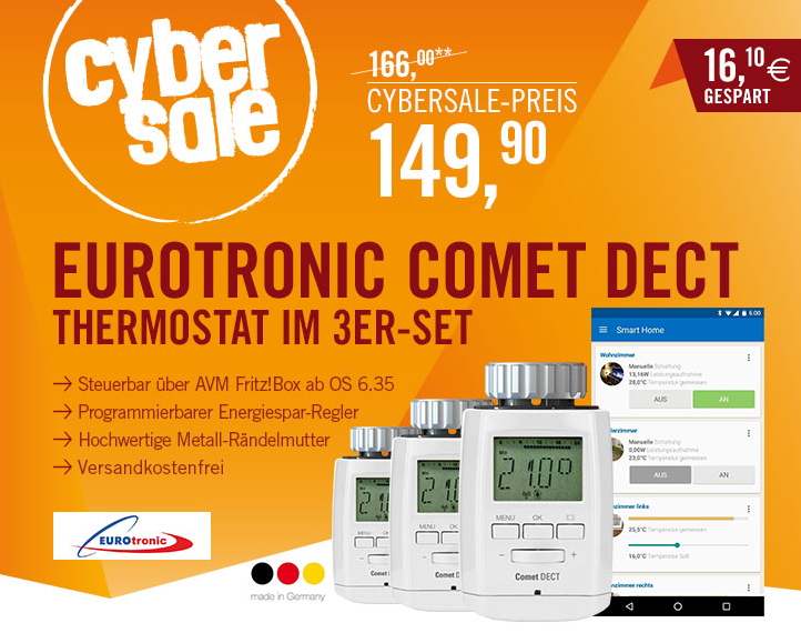 cybersale eurotronic 3er set comet dect heizk rperthermostat f r avm fritz box wei f r nur 149. Black Bedroom Furniture Sets. Home Design Ideas