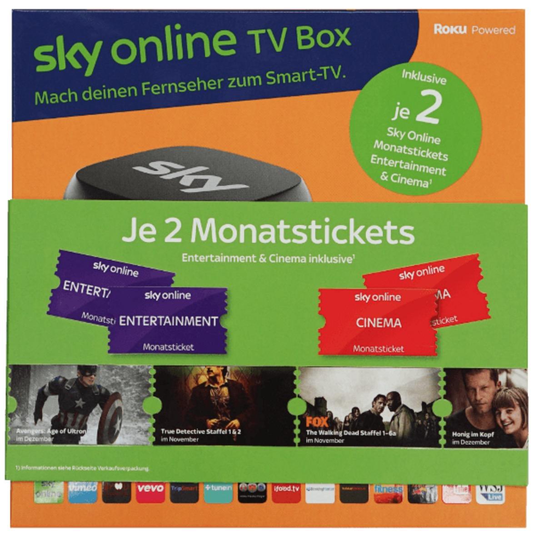 Update: Sky Online TV Box (inklusive je 2 Sky Online Monatstickets Entertainment & Cinema) für nur 16,99 Euro